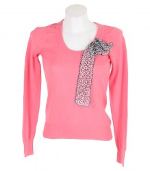 Розовый пуловер с леопардовым бантом None 12601