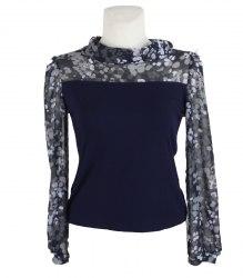 Комбинированная блуза с шифоновыми рукавами None 12658