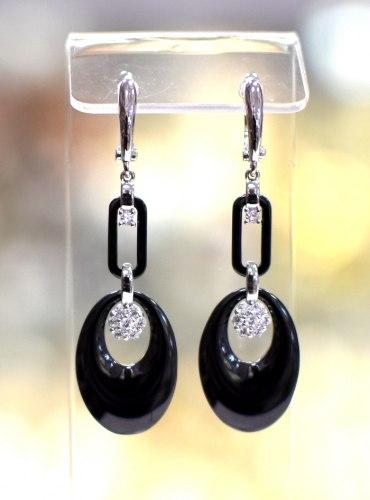Серьги Керамика черная 2 s-055