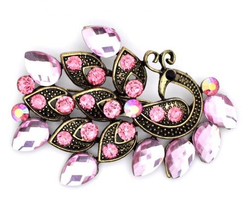 Брошь Павлин розовый b-012
