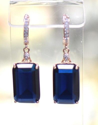Серьги Циркон синий s-075