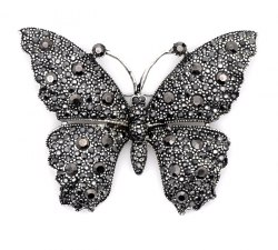 Брошь Бабочка черненая b-026