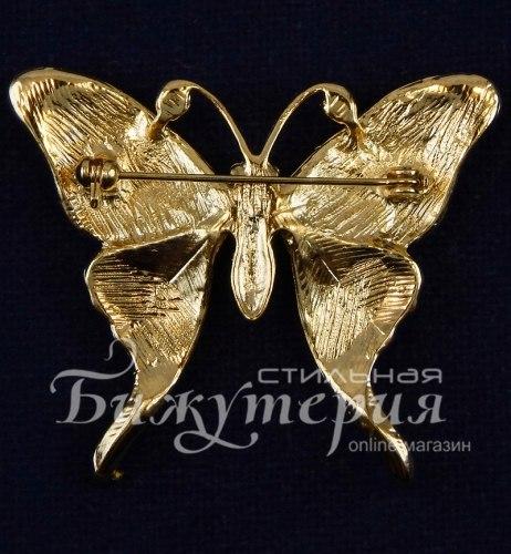 Брошь Бабочка с фиолетовой эмалью b-008