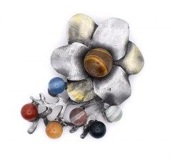 Брошь Цветок серый 2 b-230