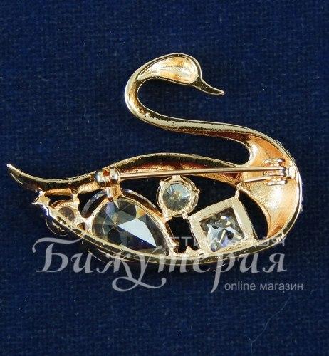 Брошь Лебедь в золоте b-015