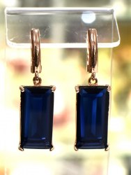Серьги Позолота синие s-210