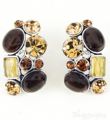 Серьги с коричневыми кристаллами s-022