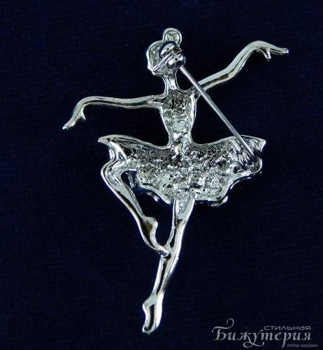 Брошь Балерина белая b-036
