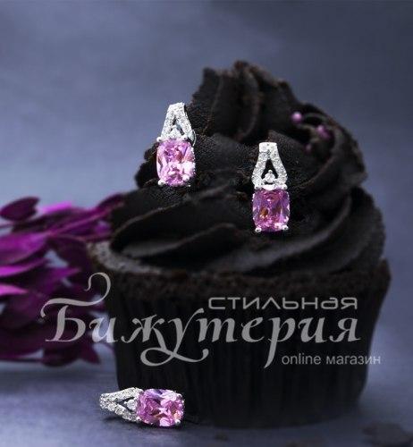 Комплект: серьги + подвеска розовый kt-014