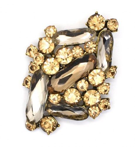 Брошь коричневая с кристаллом b-121
