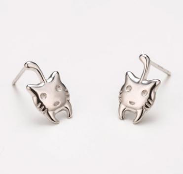 Гвоздики Котики с посеребрением s-158