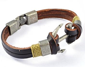 Кожаный браслет с якорем bc-074