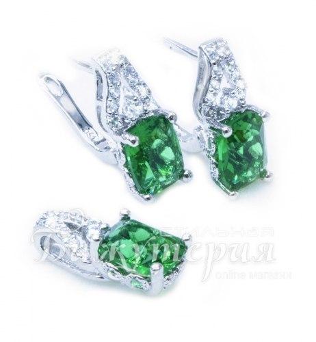 Комплект: серьги + подвеска зеленый kt-013