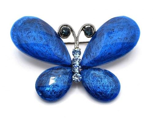 Брошь Бабочка синяя 2 b-052