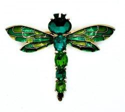 Брошь Стрекоза зеленая b-114