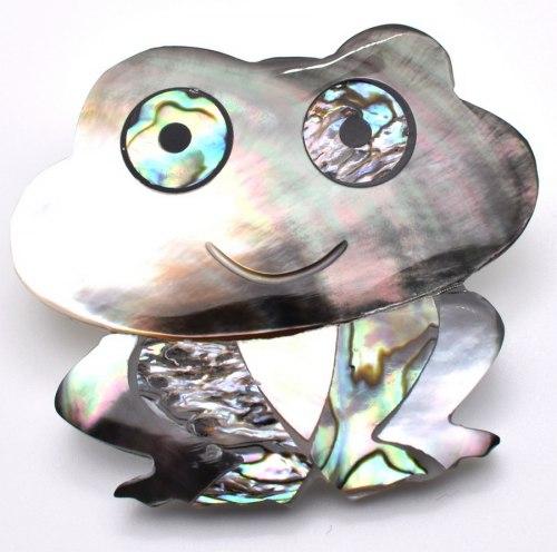Брошь Лягушка перламутр b-142