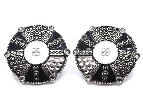Серьги круглые с эмалью s-164