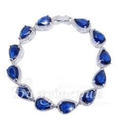 Браслет родированный синий bc-031