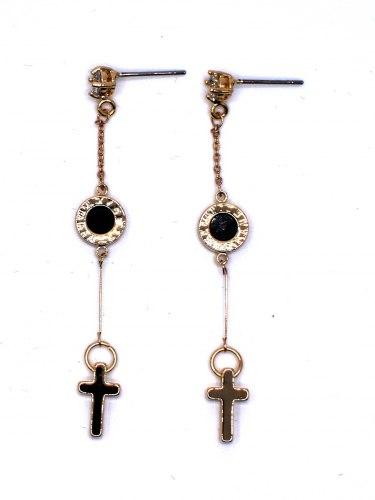 Cерьги с крестиком s-016