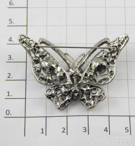 Брошь Бабочка черно-белая b-053