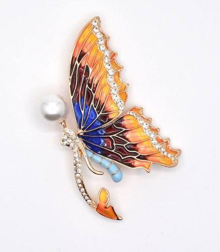 Брошь Бабочка с разноцветной эмалью b-060