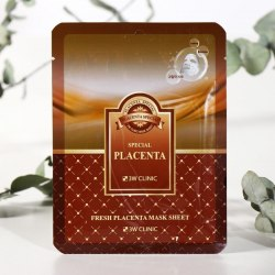 НАБОР Тканевая маска для лица ПЛАЦЕНТА , 10 шт 3W CLINIC Fresh Placenta Mask Sheet