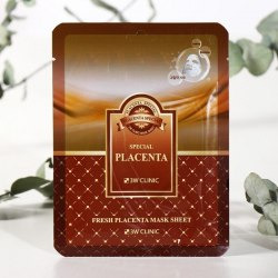 Тканевая маска для лица ПЛАЦЕНТА , 1 шт 3W CLINIC Fresh Placenta Mask Sheet
