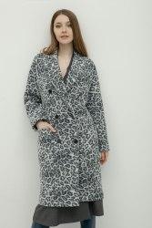 Пальто женское драповое цвет серый/лео Bugalux Модель 436