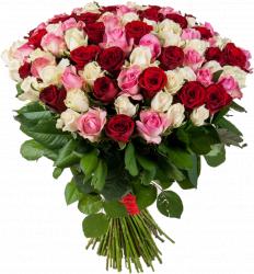 Букет 101 красная и розовая роза - 70 см