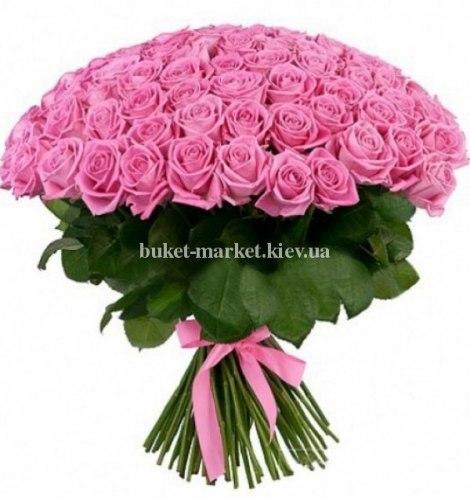 Букет 101 розовая роза - 50 см