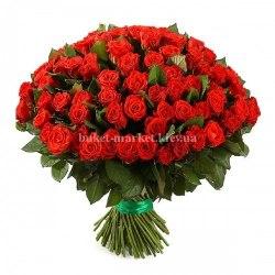 Роза красная 101 шт - 50 см