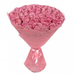 Розовая роза 101 шт в упаковке - 70 см