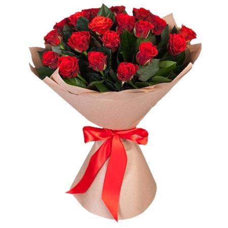 Букет из красных роз Эль Торо 21 шт, 70 см