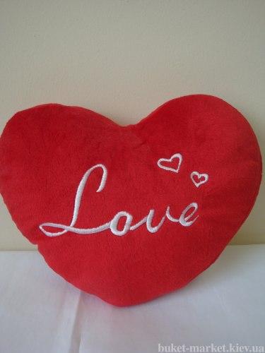 Сердце - подушка красная, 24 см