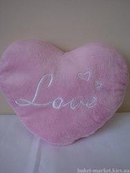 Сердце - подушка розовая, 24 см
