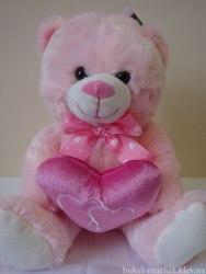 Медвежонок розовый, 26 см