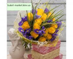 Букет из ирисов и желтых роз - 35 шт