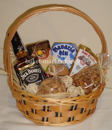 """Подарочная корзина с виски и сырами """"Подарок Джеку"""", Ø25 см."""