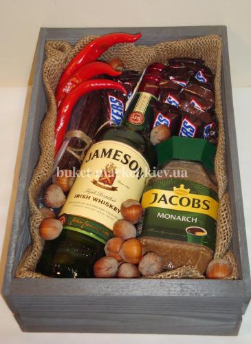 Мужской набор с виски (ящик без крышки) №28