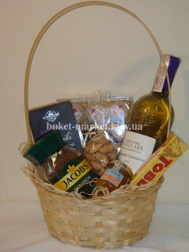 """Подарочная корзина с вином """"Коломбар"""", Ø23 см."""