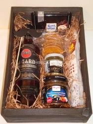 Мужской подарочный набор с алкоголем (ящик без крышки) №42