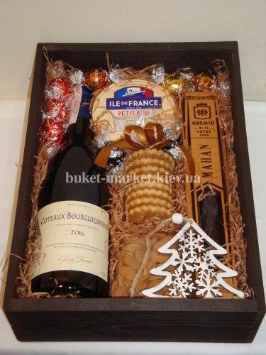 Подарочный набор с вином (ящик без крышки) №219