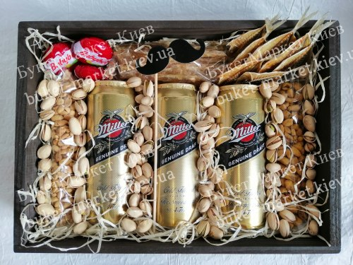 Подарочный набор с пивом (ящик без крышки) №220