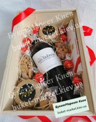 Подарочный набор с вином в ящике (с крышкой) №221