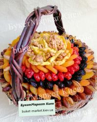 """Подарочный букет из сухофруктов в корзине """"Ореховый цветок"""", Ø27 см."""