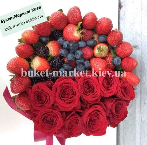 """Букет из клубники и роз """"Кармен"""" №346, Ø20 см."""