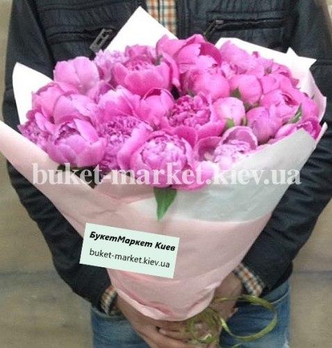 Букет пионы розовые, 25 шт.
