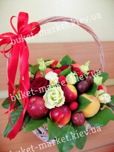 Корзина из фруктов и цветов №365, Ø35 см.