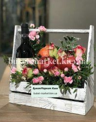 Букет с вином и фруктами №371