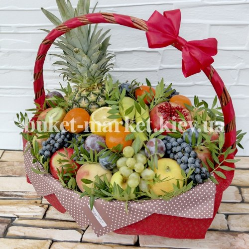 Букет с ананасом в корзине №372